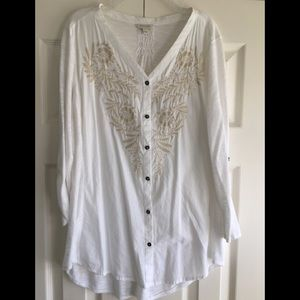 White and tan embroidered shirt